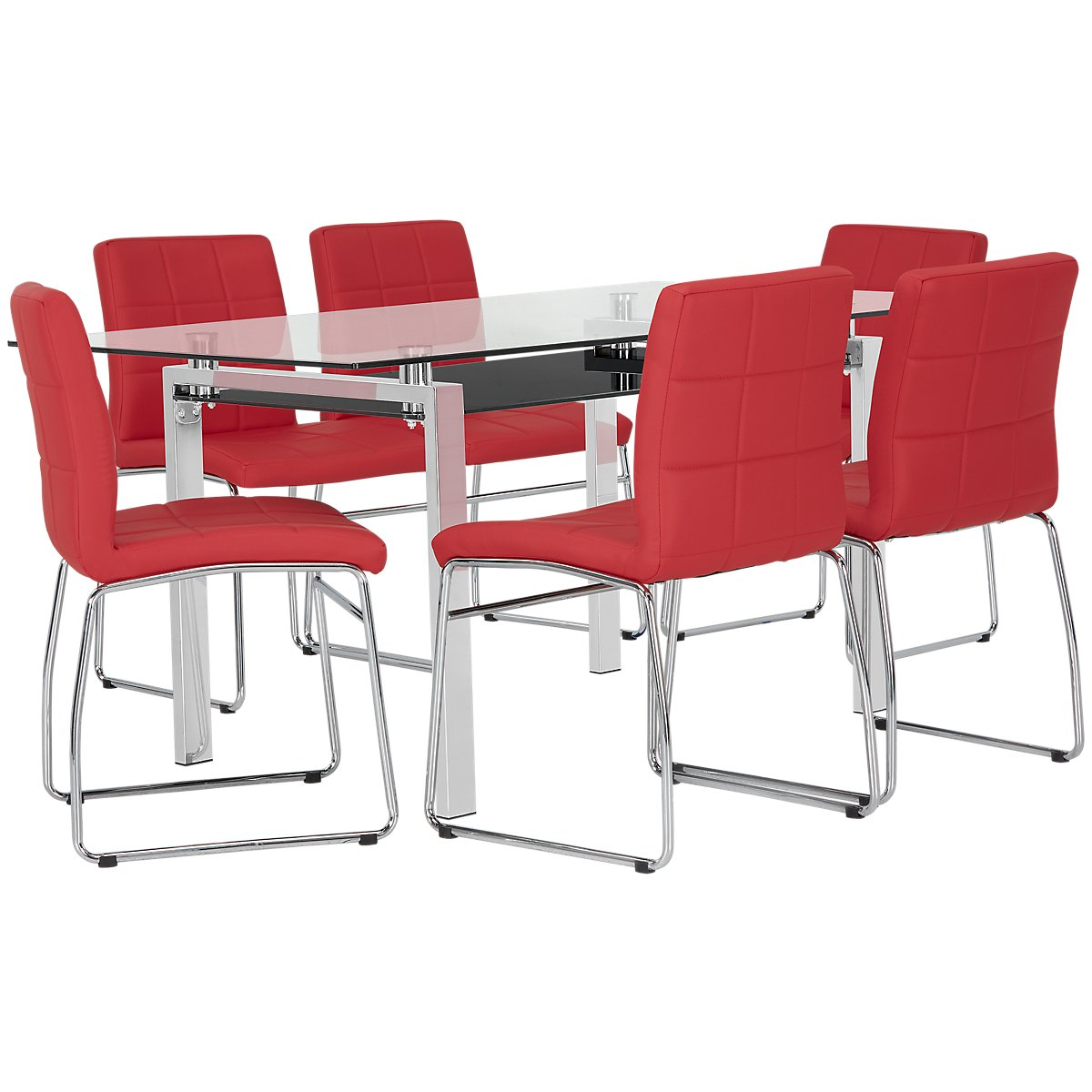 "Caleb Red 60"" Table & 4 Upholstered Chairs"