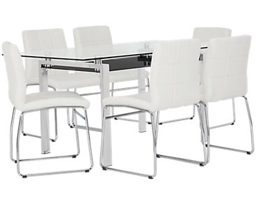 "Caleb White 60"" Table & 4 Upholstered Chairs"