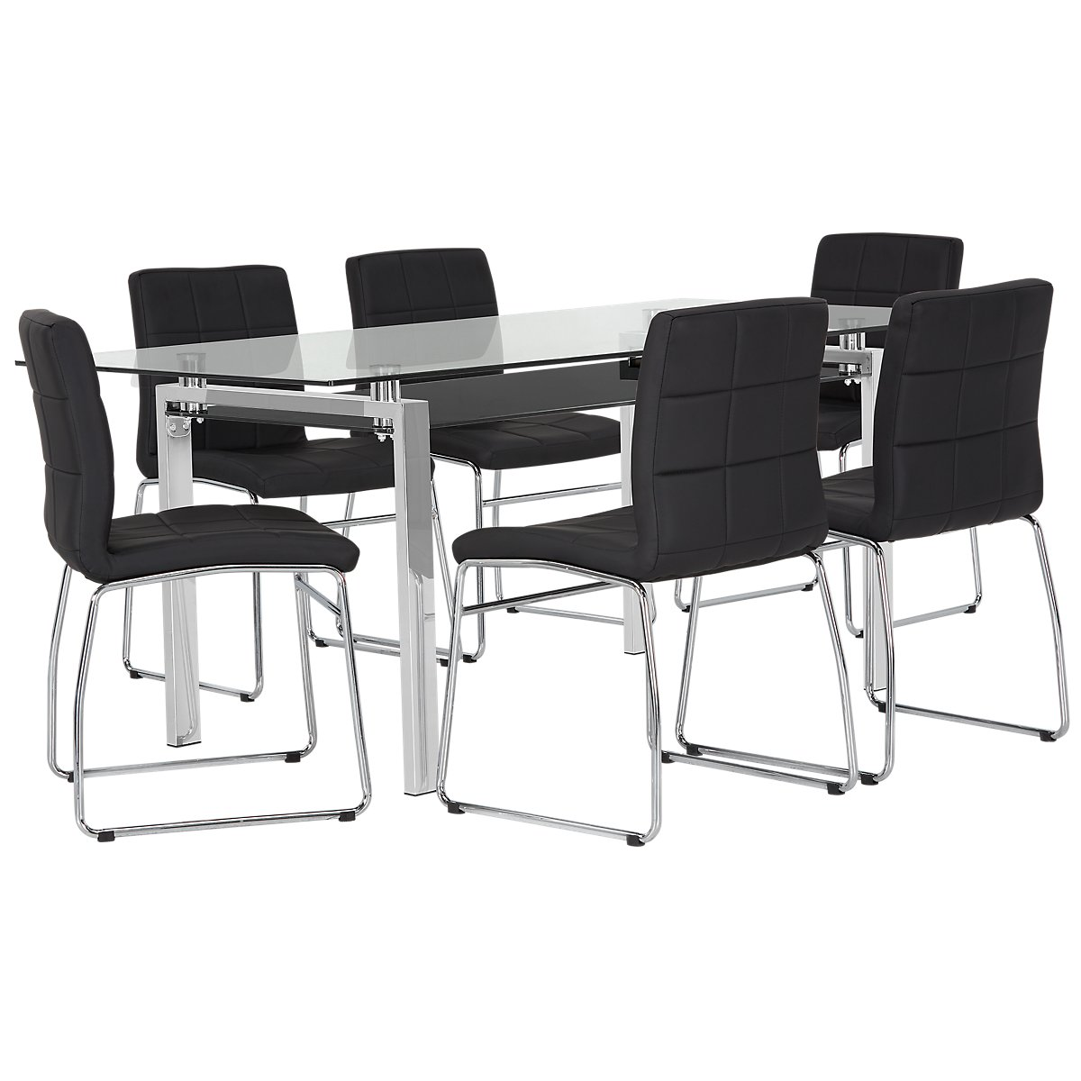 """Caleb Black 70"""" Table & 4 Upholstered Chairs"""