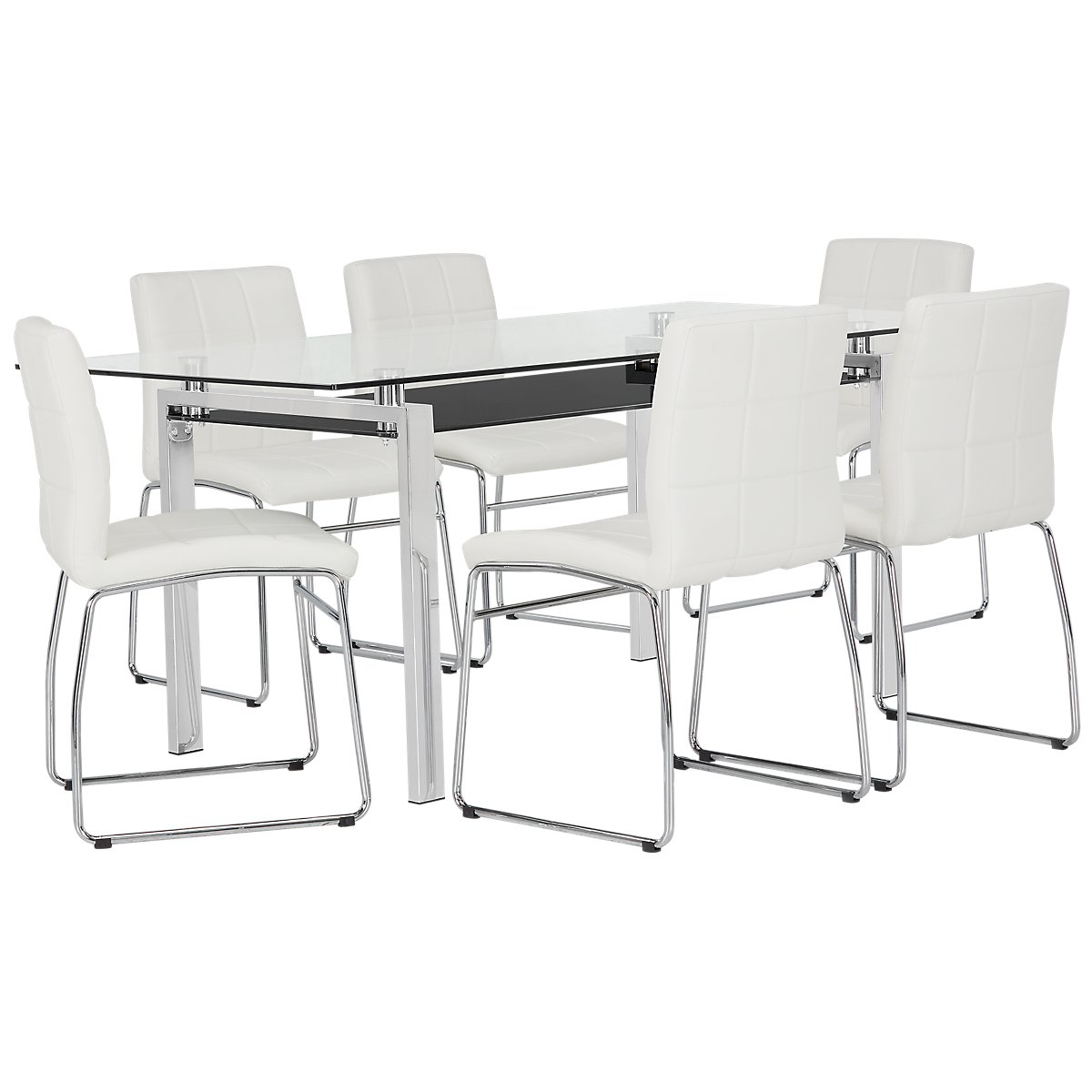 "Caleb White 70"" Table & 4 Upholstered Chairs"