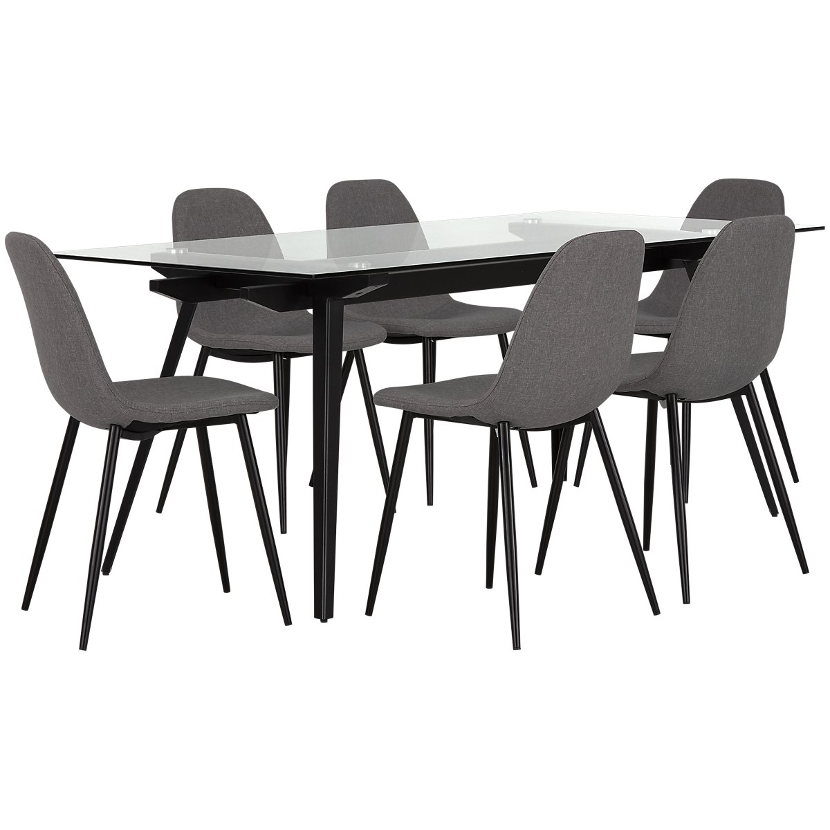 Miles Gray Glass Table & 4 Upholstered Chairs