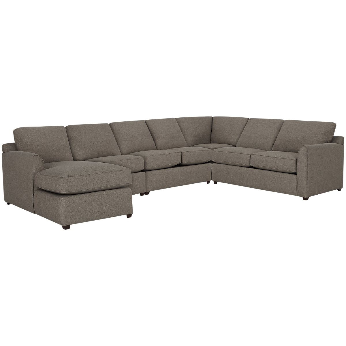 Asheville Brown Fabric Large Left Chaise Sectional