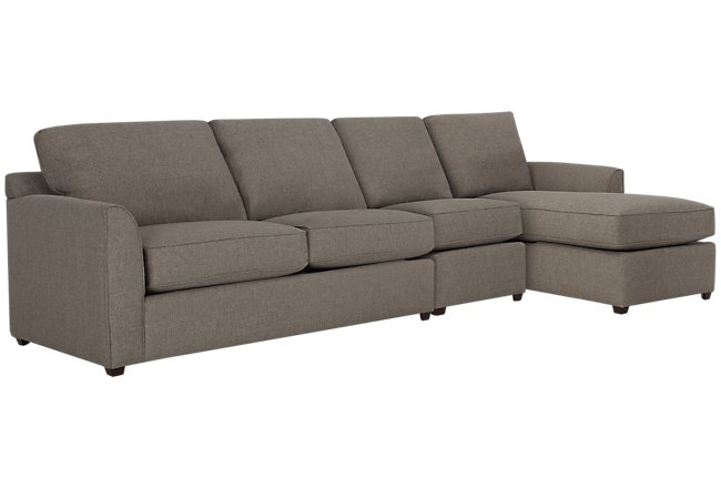 Asheville Brown Fabric Small Right Chaise Sectional