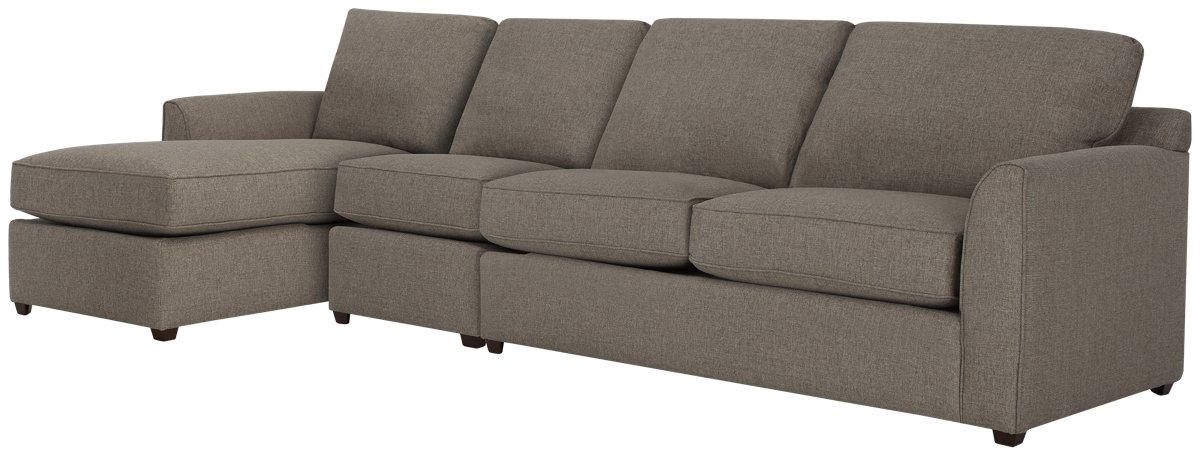 Asheville Brown Fabric Small Left Chaise Sectional