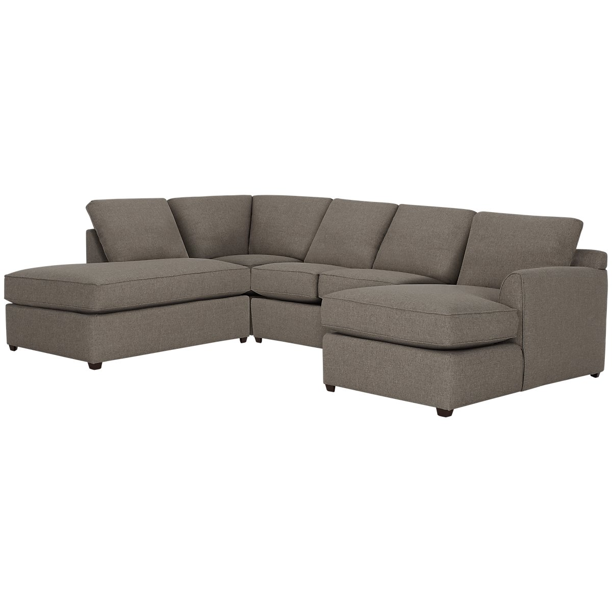 Asheville Brown Fabric Small Left Bumper Sectional