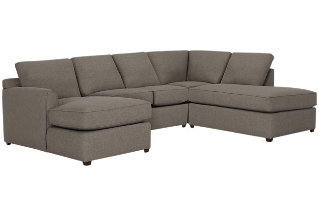 Asheville Brown Fabric Small Right Bumper Sectional