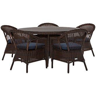 Cape Dark Blue Round Table & 4 Chairs