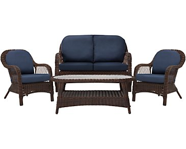 Cape Dark Blue Outdoor Chat Set