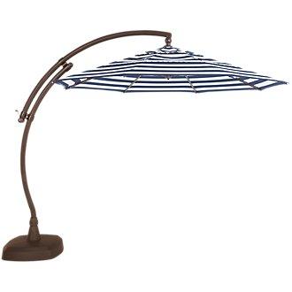 Cayman Dark Blue Stripe Cantilever Umbrella Set