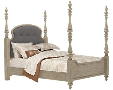 Corinne Light Tone Upholstered Poster Bed