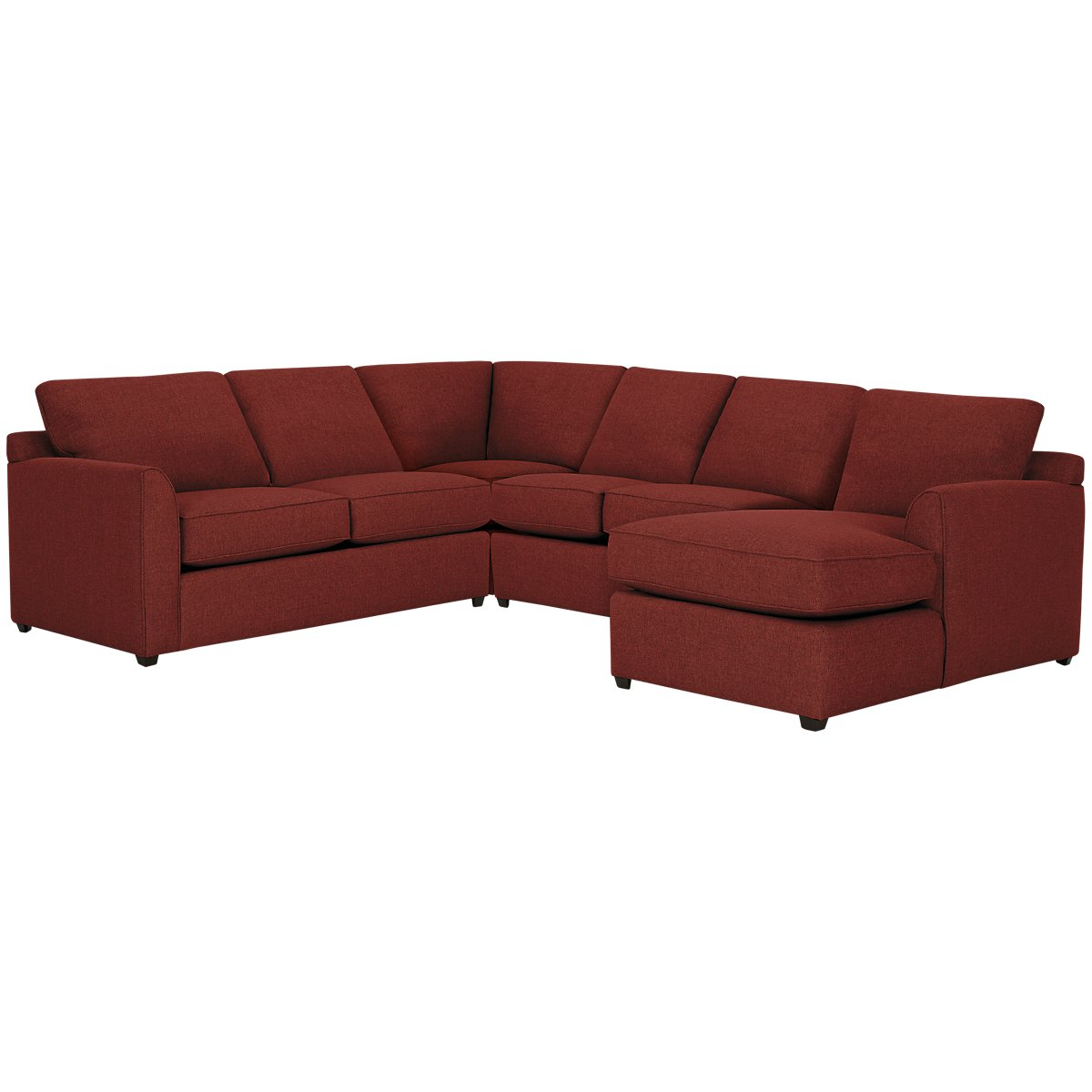 Asheville Red Fabric Medium Right Chaise Sectional