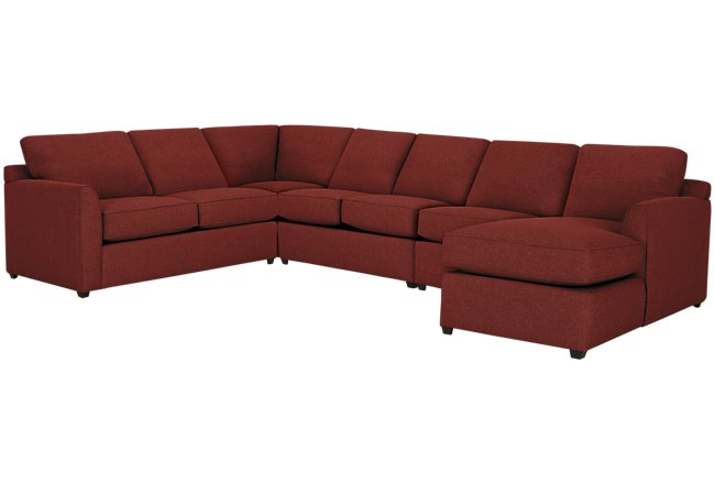 Asheville Red Fabric Large Right Chaise Sectional