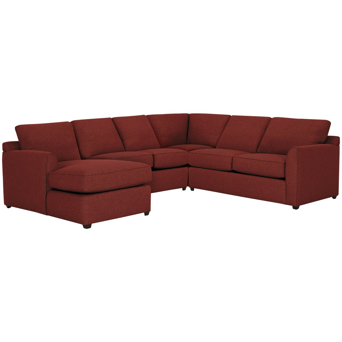 Asheville Red Fabric Medium Left Chaise Sectional
