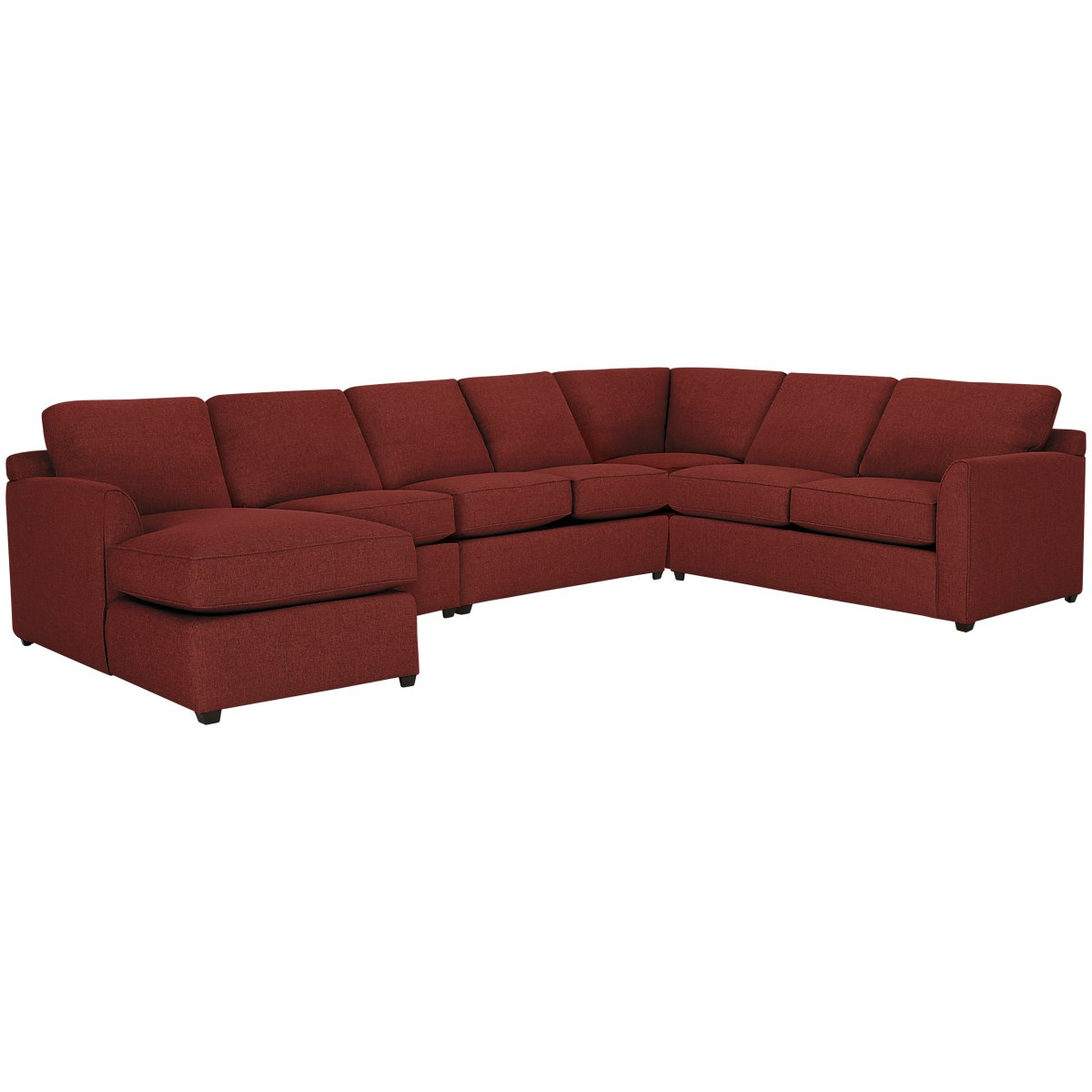 Asheville Red Fabric Large Left Chaise Sectional