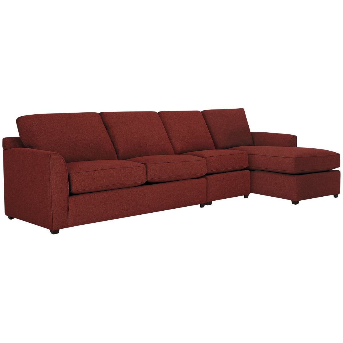 Asheville Red Fabric Small Right Chaise Sectional