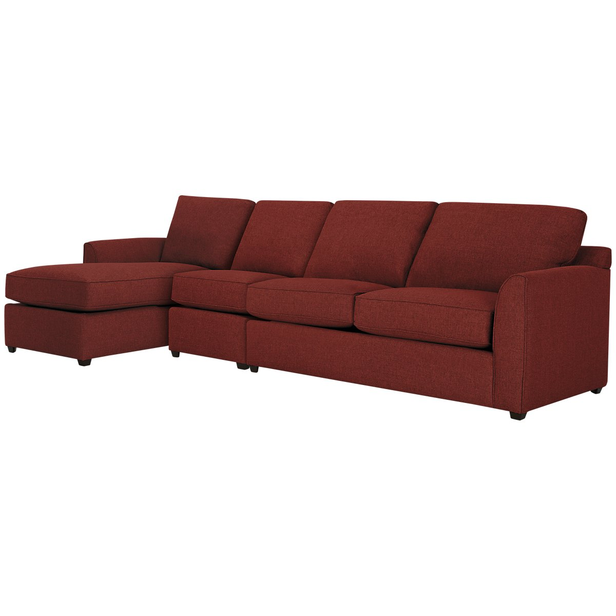 Asheville Red Fabric Small Left Chaise Sectional