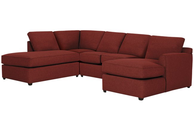 Asheville Red Fabric Small Left Bumper Sectional