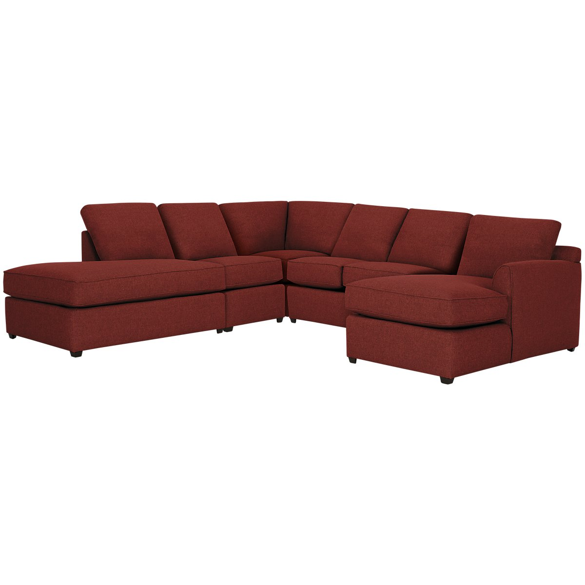 Asheville Red Fabric Large Left Bumper Sectional