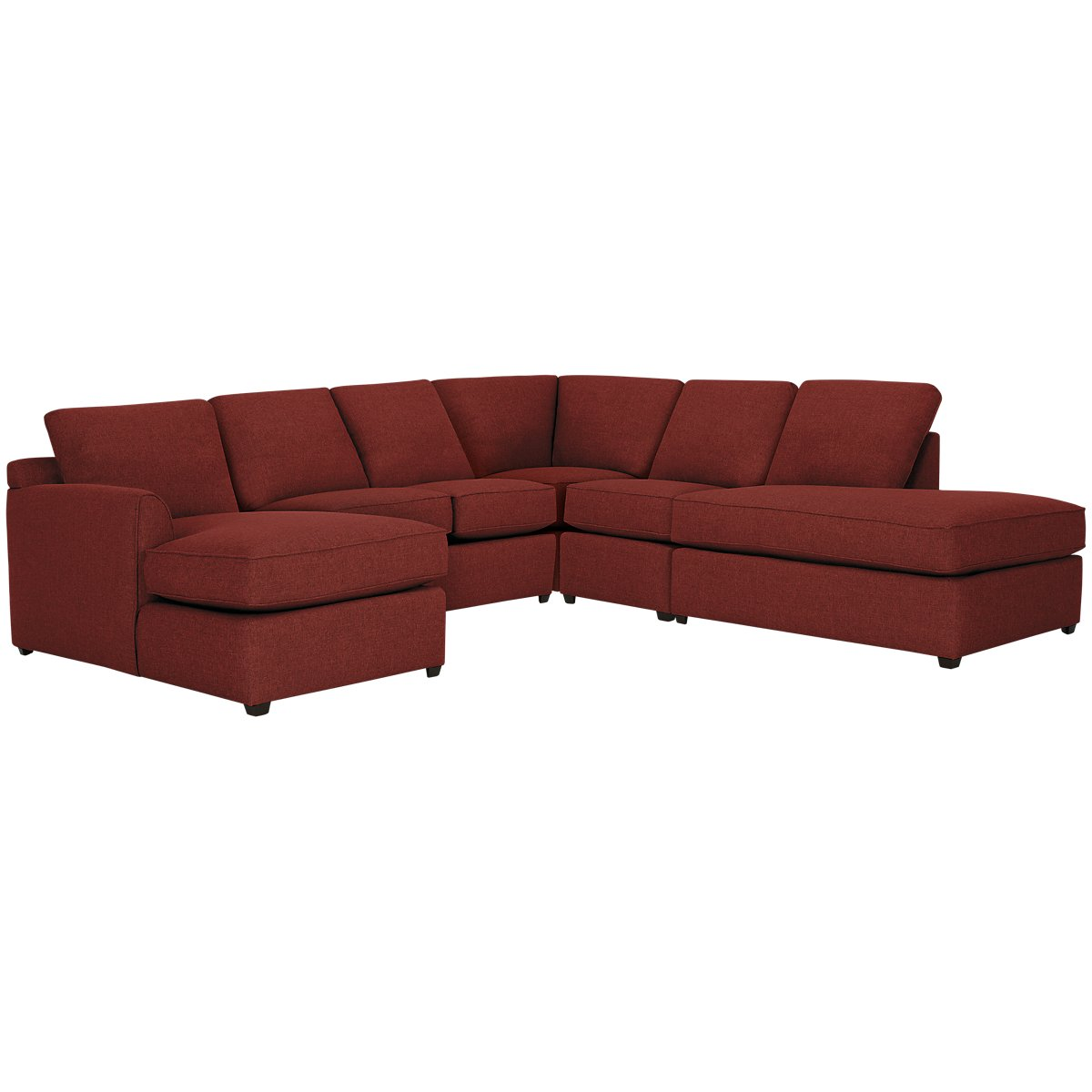 Asheville Red Fabric Large Right Bumper Sectional