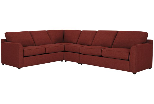 Asheville Red Fabric Large Two-Arm Sectional