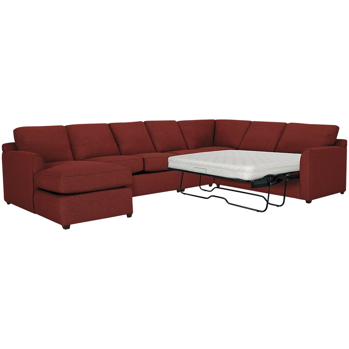 City furniture asheville red fabric left chaise for Andrea 2 piece sleeper chaise