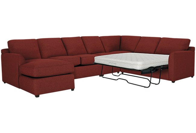 Asheville Red Fabric Left Chaise Innerspring Sleeper Sectional