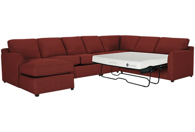 Asheville Red Fabric Left Chaise Memory Foam Sleeper Sectional