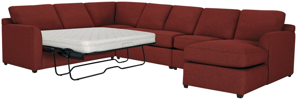 Asheville Red Fabric Right Chaise Innerspring Sleeper Sectional