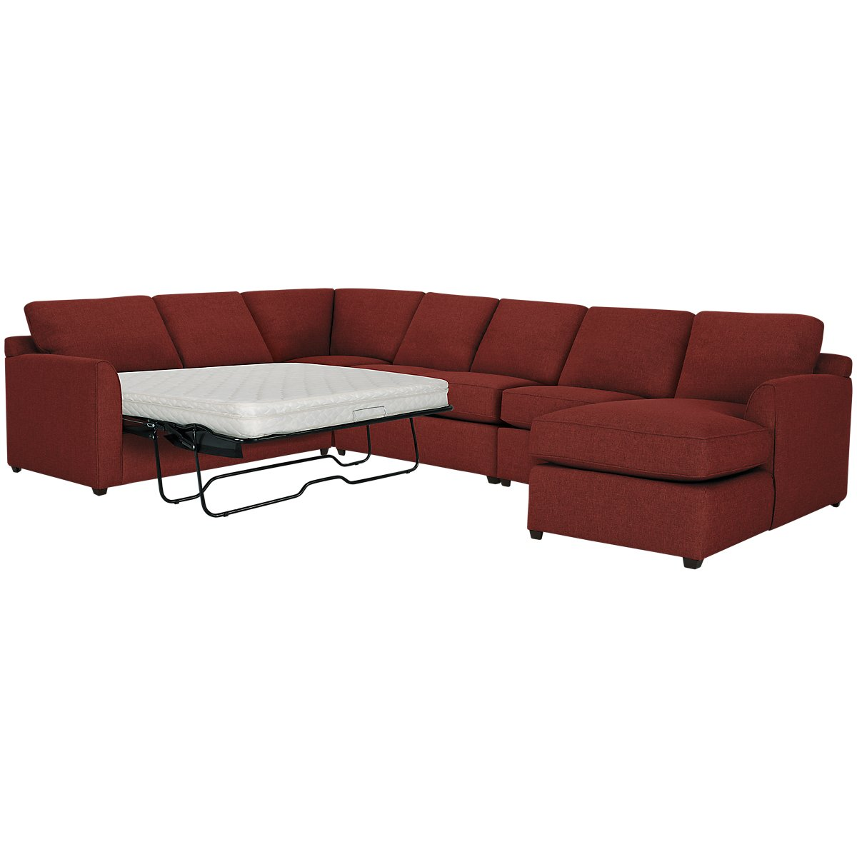 City Furniture Asheville Red Fabric Right Chaise