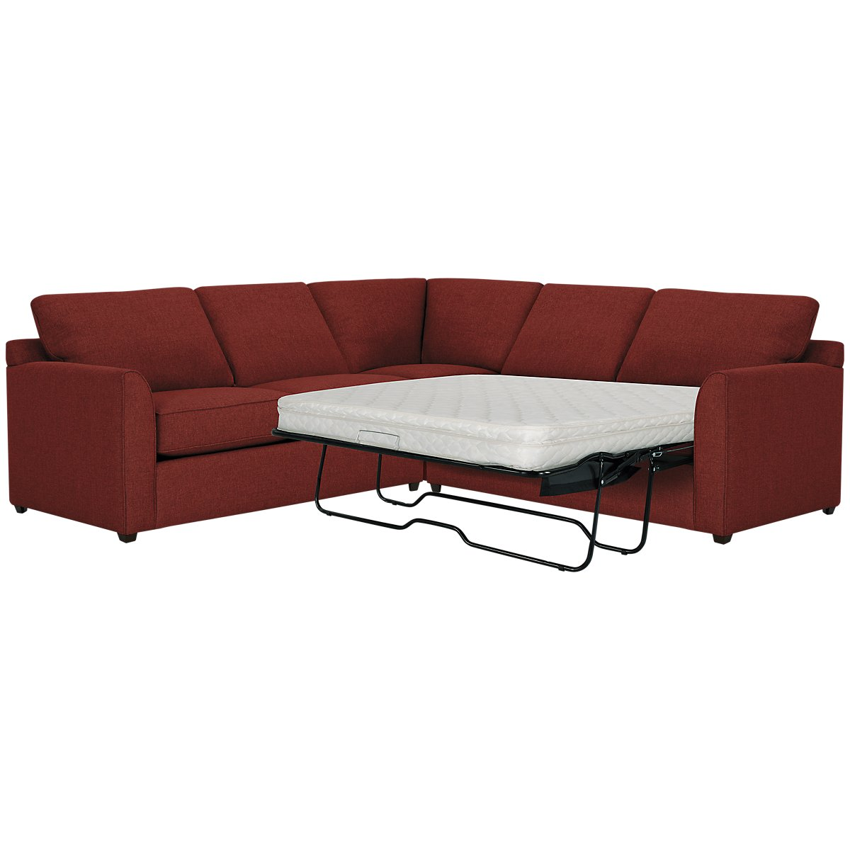 Asheville Red Fabric Two-Arm Right Innerspring Sleeper Sectional