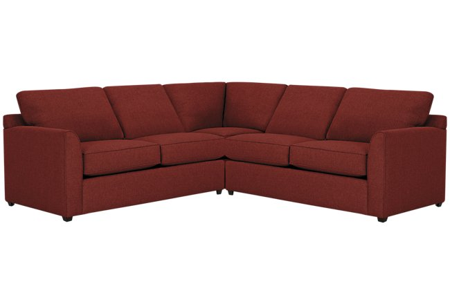 Asheville Red Fabric Two-Arm Right Memory Foam Sleeper Sectional
