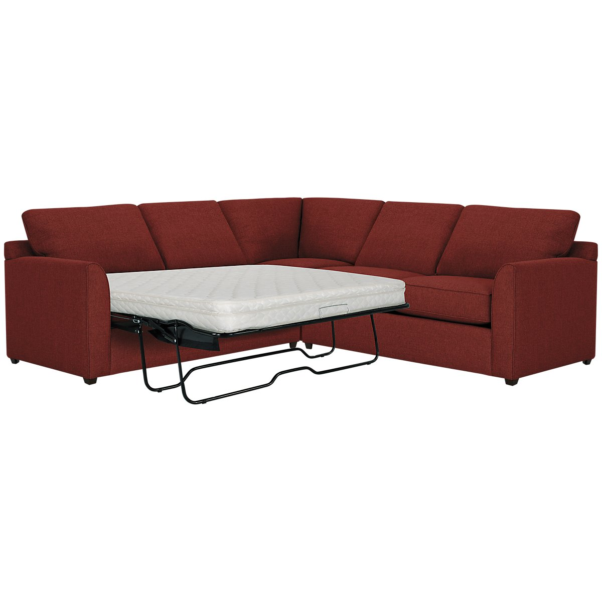Asheville Red Fabric Two-Arm Left Innerspring Sleeper Sectional