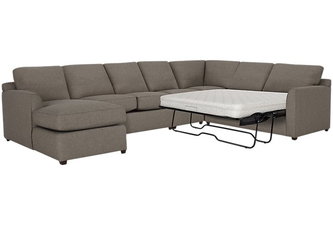 Asheville Brown Fabric Left Chaise Innerspring Sleeper Sectional