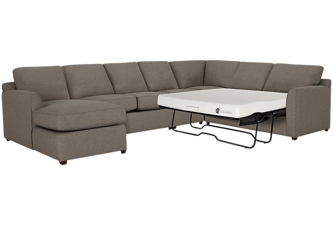 Asheville Brown Fabric Left Chaise Memory Foam Sleeper Sectional