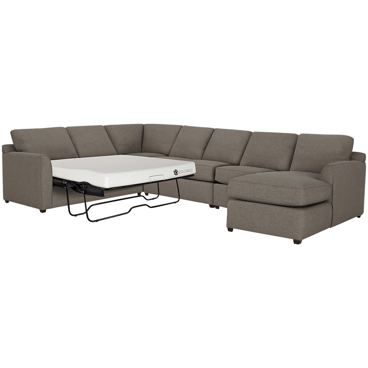 Asheville Brown Fabric Right Chaise Memory Foam Sleeper Sectional