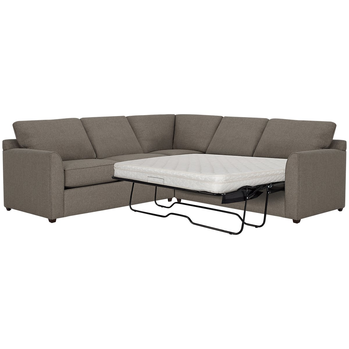 Asheville Brown Fabric Two-Arm Right Innerspring Sleeper Sectional