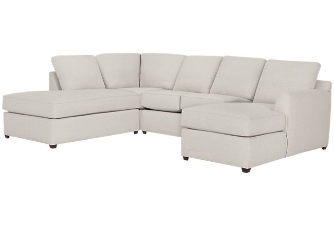 Asheville Light Taupe Fabric Small Left Bumper Sectional