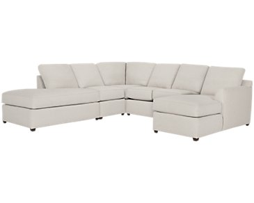 Asheville Light Taupe Fabric Large Left Bumper Sectional