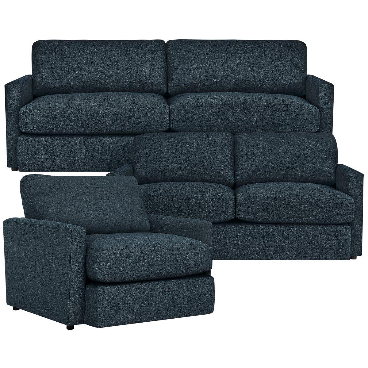 Noah Dark Blue Fabric Living Room