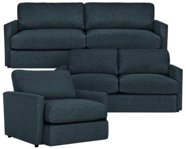 Noah Dark Blue Fabric Living Room