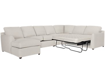 Asheville Light Taupe Fabric Left Chaise Innerspring Sleeper Sectional