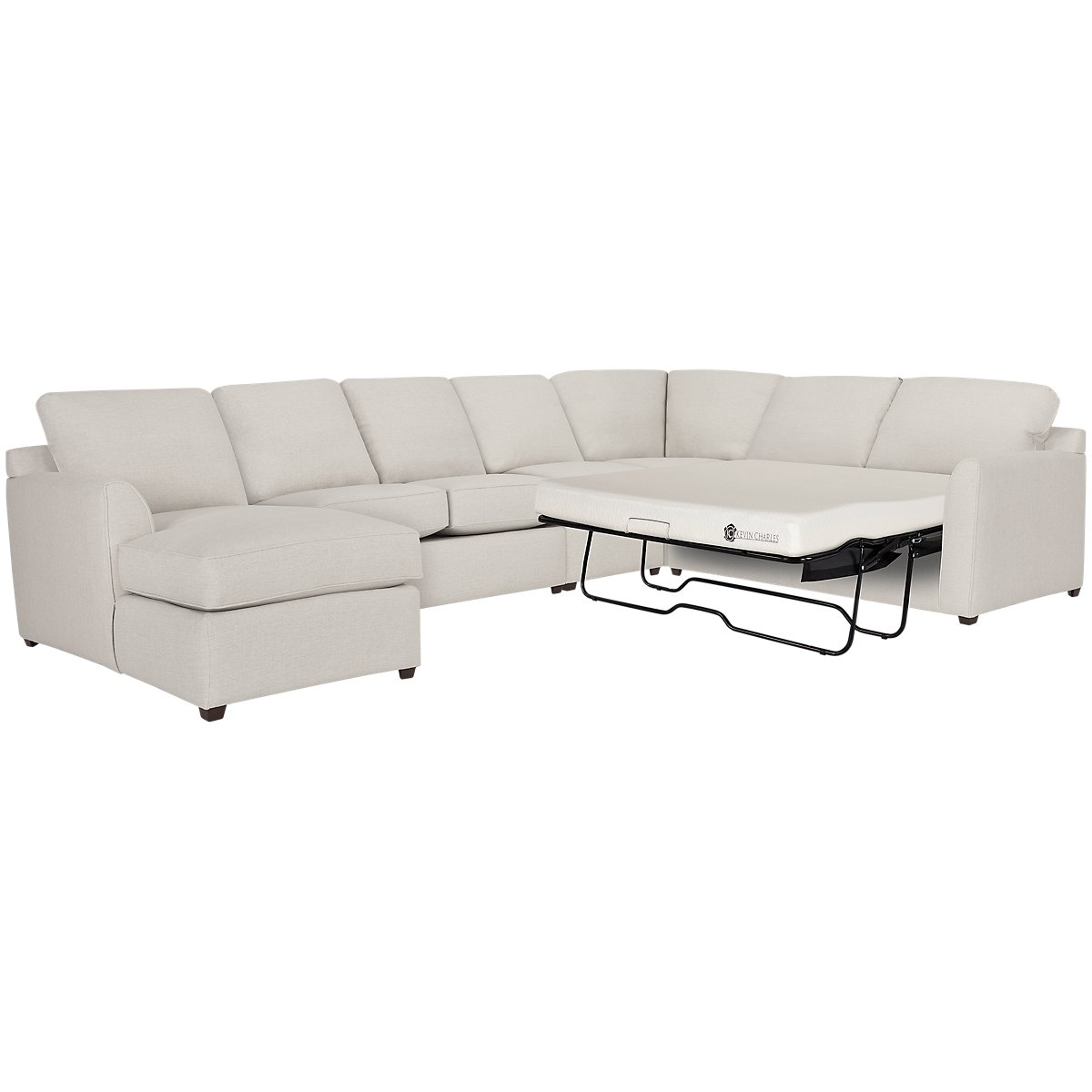 Asheville Light Taupe Fabric Left Chaise Memory Foam Sleeper Sectional