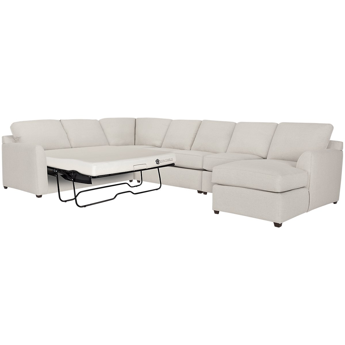Asheville Light Taupe Fabric Right Chaise Memory Foam Sleeper Sectional