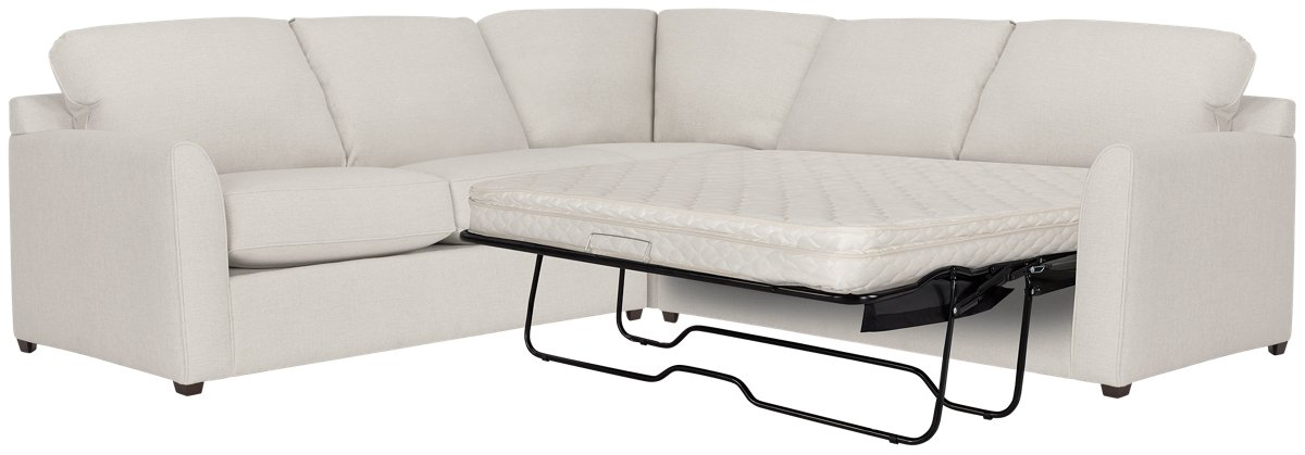 Asheville Light Taupe Fabric Two-Arm Right Innerspring Sleeper Sectional