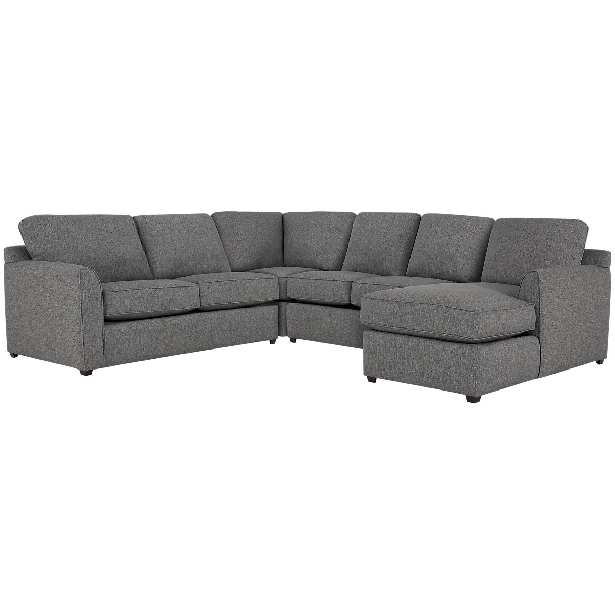 Asheville Gray Fabric Medium Right Chaise Sectional