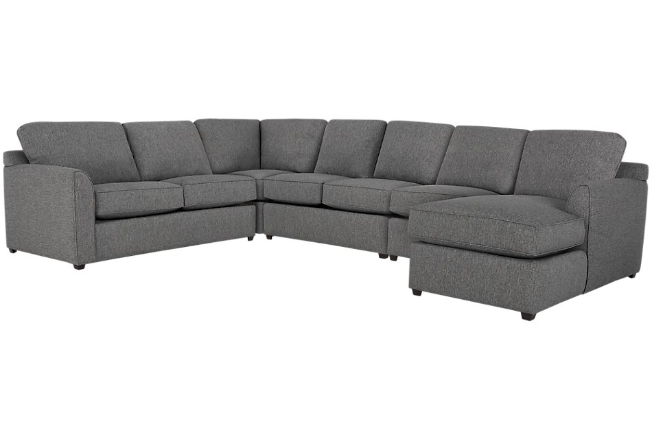 Asheville GRAY FABRIC Large Right Chaise Sectional