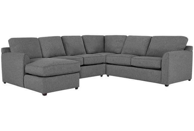 Asheville Gray Fabric Medium Left Chaise Sectional
