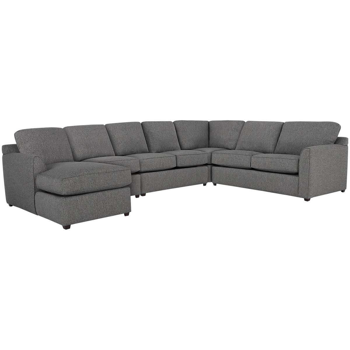 Asheville Gray Fabric Large Left Chaise Sectional