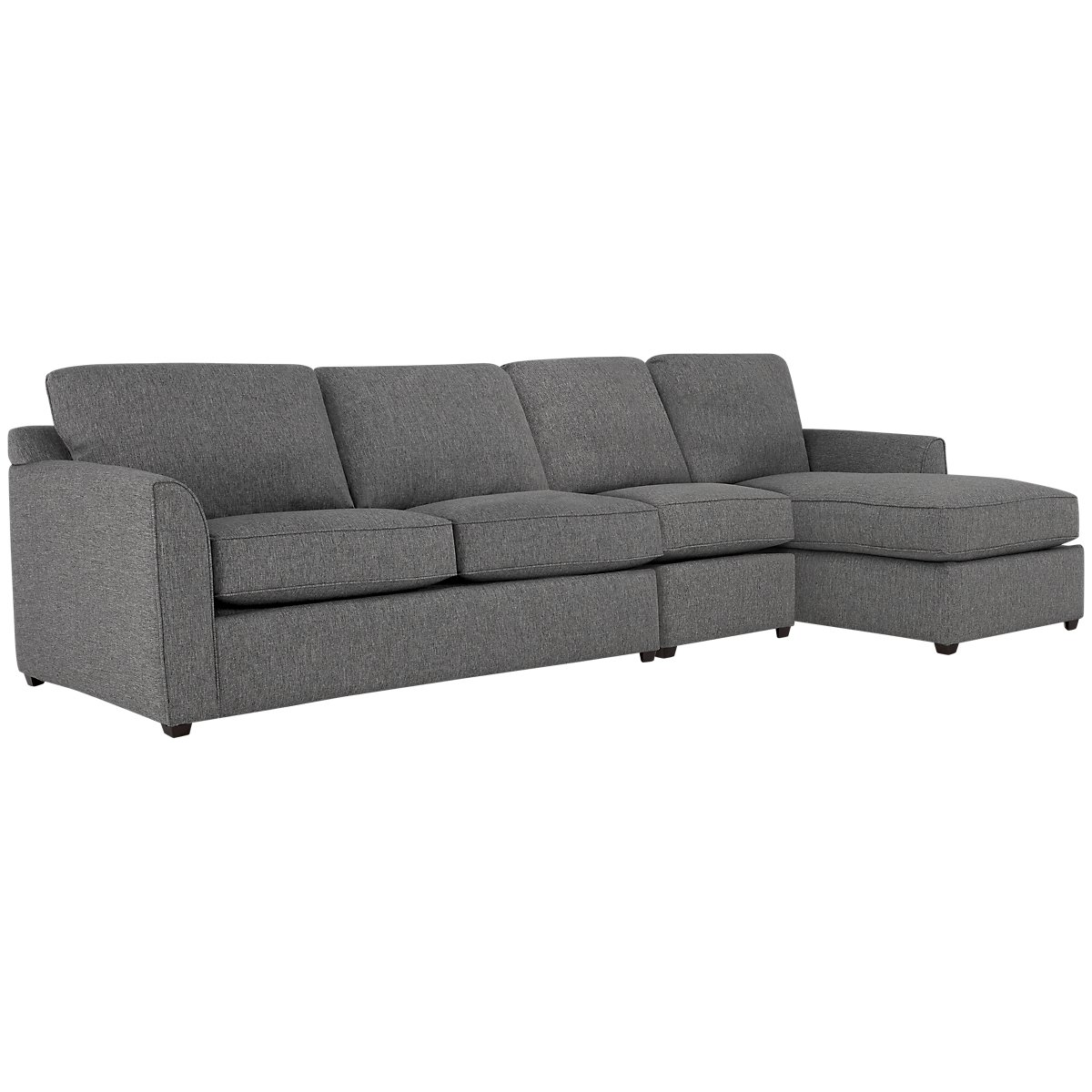 Asheville Gray Fabric Small Right Chaise Sectional