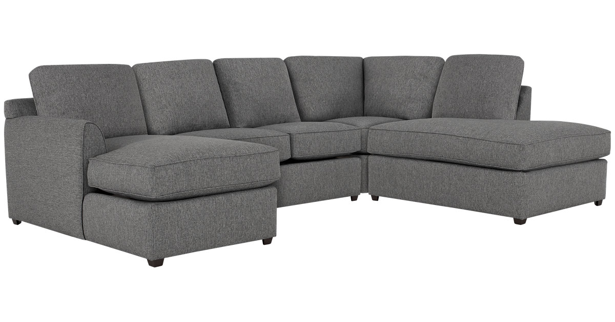 City Furniture Asheville Gray Fabric Small Right Bumper Sectional